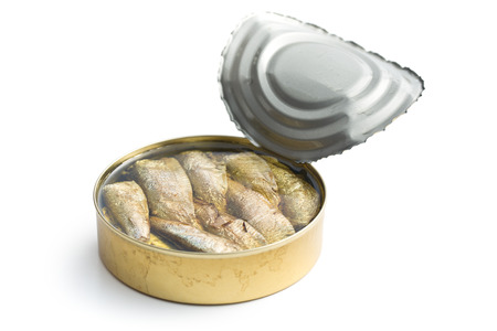 sprats: can of sprats on white background Stock Photo