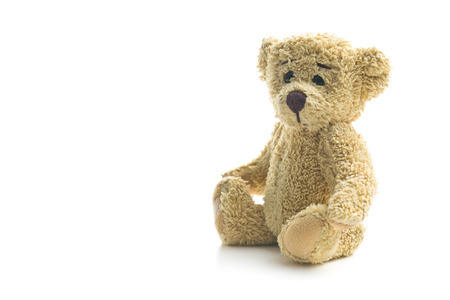 osos de peluche: oso de peluche sobre fondo blanco Foto de archivo