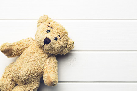 the teddy bear on white table Stok Fotoğraf - 37184227