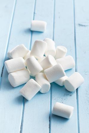 spongy: the white marshmallows on kitchen table Stock Photo