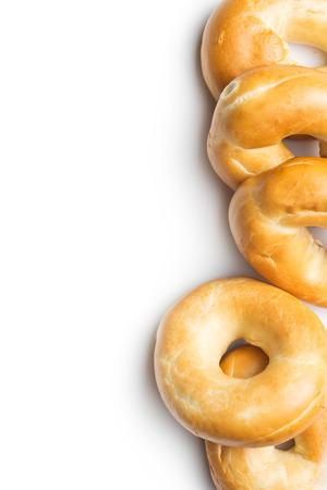 tasty bagels on white background Imagens