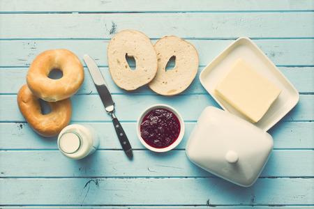 bagel: top view of tasty breakfast Stock Photo