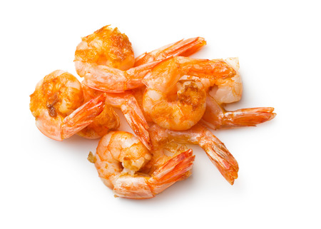 grilled prawns on white background photo