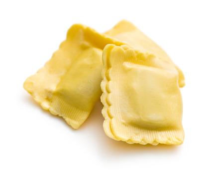 raviolo: ravioli pasta on white background Stock Photo