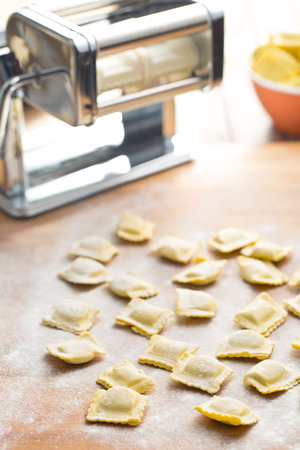 ravioli: ravioli pasta on kitchen table Stock Photo