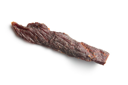 dehydrated: spice beef jerky on white background