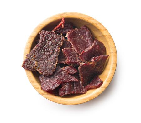spice beef jerky on white background