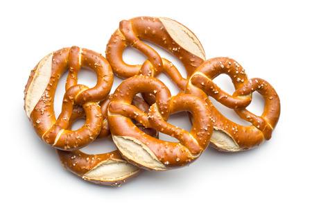 pretzels: baked pretzels on white background