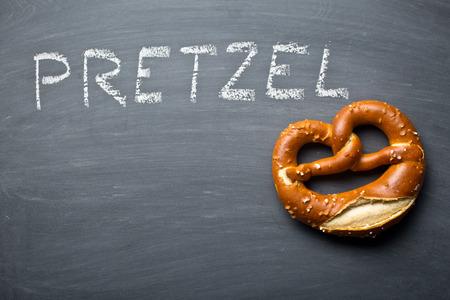 pretzel: the baked pretzel on a chalkboard