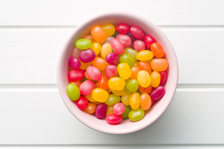jellybean: top view of jelly beans in bowl Stock Photo