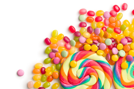 colorful confectionery on white background