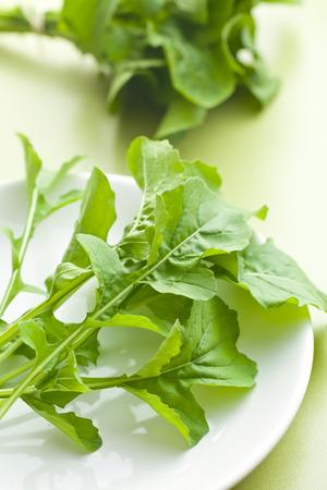 rukola: arugula leaves on kitchen table