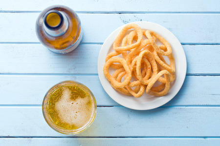 onion rings: the snack flavored with onion rings Stock Photo