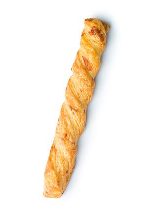 흰색 baclkground에 치즈와 빵 막대기 스톡 콘텐츠