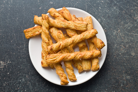 top view of bread sticks with cheese photo