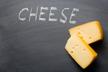 edam: the edam cheese on blackboard