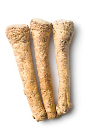 horseradish: fresh horseradish root on white background