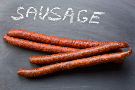 dry sausage: the dried sausages on chalkboard