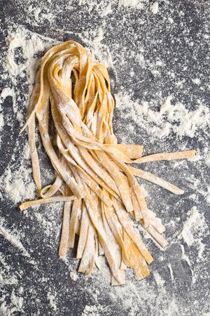 fresh homemade pasta on kitchen table