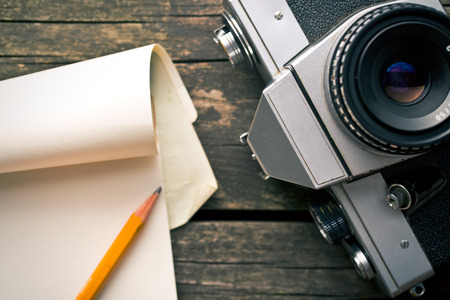 analogue: the old analogue camera and notepad Stock Photo