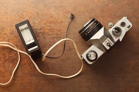 analogue: the old analogue camera with flash