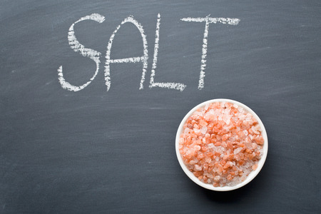 himalayan: the himalayan salt on blackboard