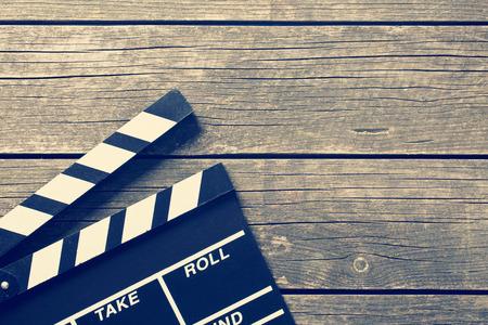 camara de cine: toma de la foto de la vendimia del azote de la película Foto de archivo