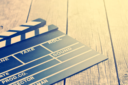 video: the movie clapper. Vintage photo shot. Stock Photo