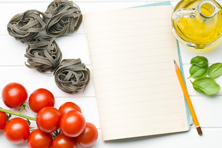 the blank notepaper and ingredients