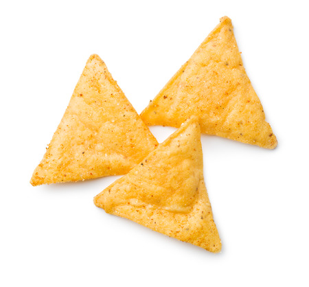 nachos: tortilla chips on white background