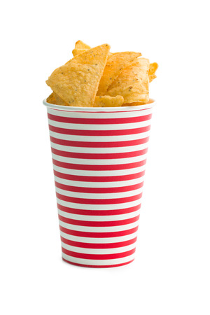 tortilla chips: tortilla chips in paper cup on white background Stock Photo