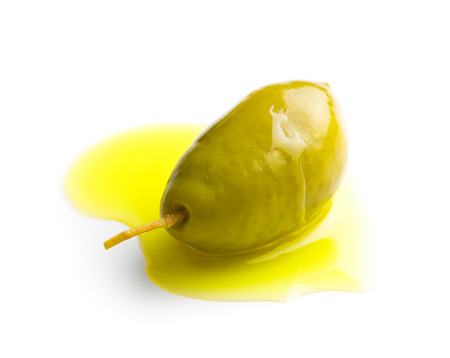 olive green: the green olive and olive oil Stock Photo