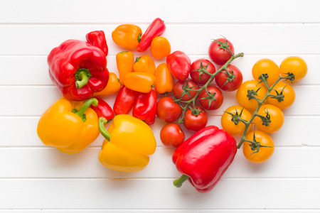 mini: top view of peppers and tomatoes