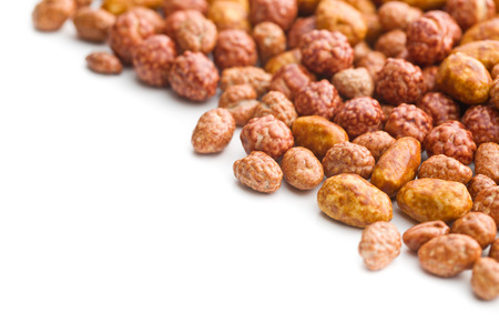 sugared: sugared nuts on white background