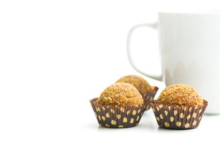 cafe bombon: postre dulce en el fondo blanco Foto de archivo