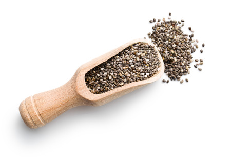 chia seeds in scoop on white background Stock fotó