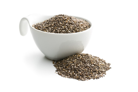bowls: chia seeds in bowl on white background