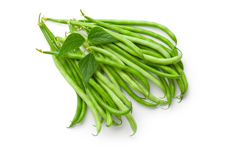 green beans on white backround Imagens