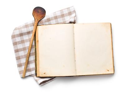 open recipe book on white background