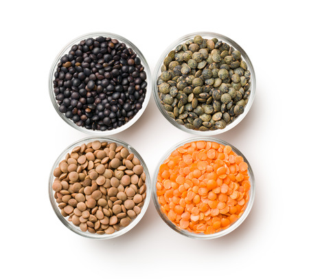 lenteja: various types of lenses legumes on white background