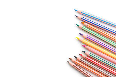 multi colors: colour pencil on white background Stock Photo