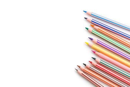 de colores: lápiz de color sobre fondo blanco Foto de archivo