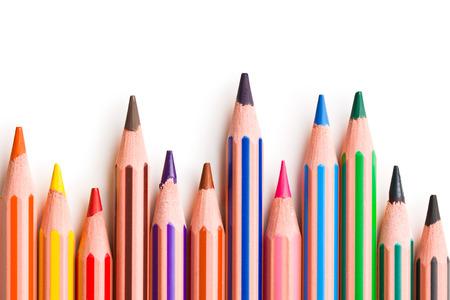 white colour: colour pencil on white background Stock Photo