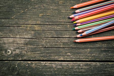 colour pencils: top view of colour pencils on table