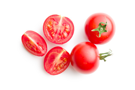 chopped tomatoes on white background