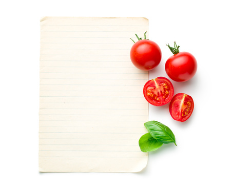 green top: the chopped tomatoes and basil leaf with blank paper