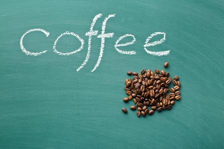 green chalkboard: coffee beans on green chalkboard