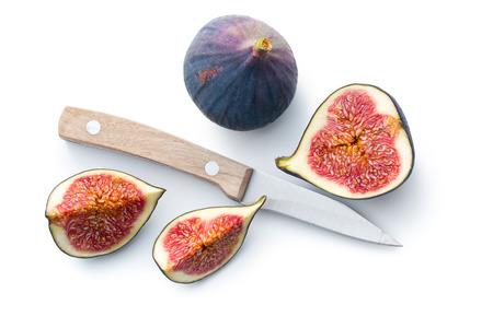 sliced fresh figs on white background Reklamní fotografie