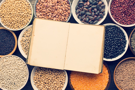 recipes: various legumes and a blank recipe book