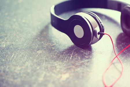 the vintage shot of headphones Stock Photo